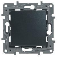 Interrupteur Interrupteur simple ou va-et-vient 10A Niloe gris avec enjoliveur finition fonte