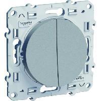 Interrupteur SCHNEIDER ELECTRIC Double interrupteur ou double va et vient Odace aluminium 230 V