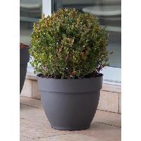 Jardiniere - Pot De Fleur - Cache-pot DEROMA Pot de fleur rond Ninfea a reserve d'eau - O 26 x H 21 cm - 7.5 L - Gris anthracite