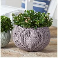 Jardiniere - Pot De Fleur - Cache-pot Pot de fleur aspect tricot 28cm - Mauve