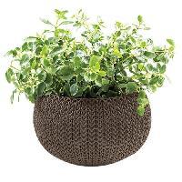 Jardiniere - Pot De Fleur - Cache-pot Pot de fleur aspect tricot 36cm - Chocolat