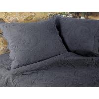 Jetee De Lit - Boutis - Couvre-lit Couvre-lit Boutis coton Byzance - 230x250cm - Ardoise