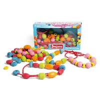 Jeu D'adresse Perles en bois - Coffret de 90 perles