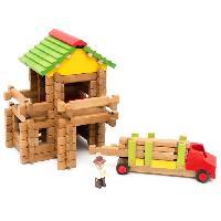 Jeu D'assemblage - De Construction - Manipulation JEUJURA - Mon Premier Chalet en Bois + Camion. 94 Pieces