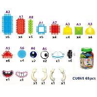 Jeu D'assemblage - Jeu De Construction - Jeu De Manipulation CUBIK Baril construction personnage briques a picots - 65 pieces - Aucune