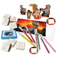 Jeu De Coloriage - Dessin - Pochoir JURASSIC WORLD Coffret maisonnette de timbres a dessiner