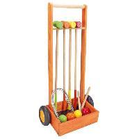 Jeu De Croquet JEUJURA Jeu de croquet en bois - 4 joueurs - Chariot en bois