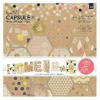 Jeu De Tampon DOCRAFTS Kit de 16 etiquettes et tampons Capsule Geometric Kraft