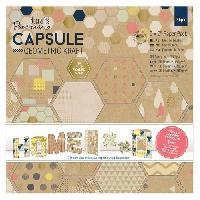 Jeu De Tampon DOCRAFTS Kit mini-cartes et tampons Capsule Geometric Kraft - 27 pieces