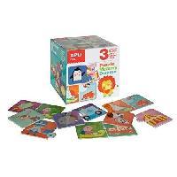 Jeux De Societe APLI Boîte de 3 jeux Mémory - Domino - Puzzle