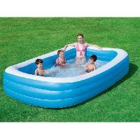 Jeux D'eau - Jeux De Plage BESTWAY Piscine familiale rectangulaire De Luxe Bleu - 305cm X 183cm h 56cm avec 3 boudins
