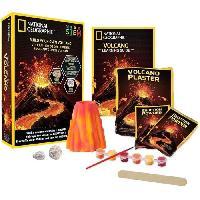 Jeux Scientifiques NATIONAL GEOGRAPHIC - Kit découverte - Volcan a fabriquer et faire entrer en éruption - 2 roches volcaniques incluses