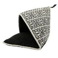 Jouet AIME Tente Pliable pour chat/petit chien - Jouet pompon - Tissu coton - Fourrure mouton - Taille S - Dim. 40x40x40cm
