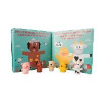 Jouet De Bain Livre et ses marionnettes de bain - Accompagnes des 5 petites marionnettes de doigts - 100 PVC