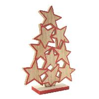 Kit - Coffret Decoration De Noel BLACHERE Sapin Etoiles en bois a poser - H 23 cm - Bois naturel et rouge Blachere Illumination