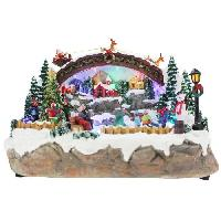 Kit - Coffret Decoration De Noel BLACHERE Scenette Patinoire Animee 17 LED Multicolores - L 32 x I 19 x H 23.5 cm - Cable Noir 4.5V Blachere Illumination