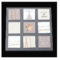 Kit - Coffret Decoration De Noel Cadre lumineux Noel 10 LEDS - Bois et plastique - H 35 x L 35 cm