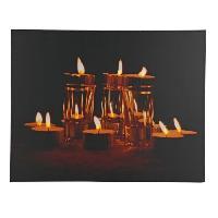 Kit - Coffret Decoration De Noel Cadre lumineux Noel 10 LEDS - Design bougies naturelles - 50.8x66x2.5 cm - Blanc chaud