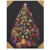 Kit - Coffret Decoration De Noel Cadre lumineux Noël 17 LEDS - Design sapin décoré - 50.8x66x2.5 cm - Aucune
