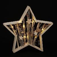 Kit - Coffret Decoration De Noel Etoile de Noël 10 LEDs WW a poser en bois - 39.5 cm - Blanche - Generique
