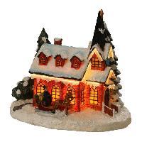 Kit - Coffret Decoration De Noel Figurine de Noel - Eglise fibre optique - 23.5x16.5x21 cm