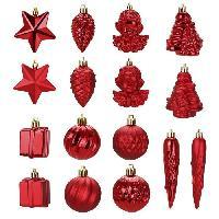 Kit - Coffret Decoration De Noel Kit de 16 décorations de Noël PVC - Ø 5 >8 cm - Rouge - Generique