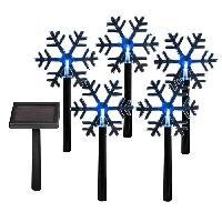 Kit - Coffret Decoration De Noel Lot de 5 Pics solaires flocons de Noël en PVC LED Blanc 30 cm - Codico