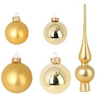 Kit - Coffret Decoration De Noel Set de 19 boules de Noël en verre avec 1 cimier - Ø 6 / 5 cm - Ø 6 x H 27 cm - Or - Generique