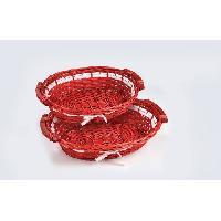 Kit - Coffret Decoration De Noel Set de 2 paniers de Noël en osier ovales - Ø 45 / 39 cm - Rouge - Generique
