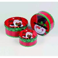 Kit - Coffret Decoration De Noel Set de 3 boites en metal rondes Bonhomme de neige - O 13 - 17 cm Christmas Dream