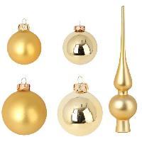 Kit - Coffret Decoration De Noel Set de decoration Noel 19 pieces - 8 Boules 6 cm + 10 Boules 5 cm + 1 cimier 27x6 cm verre et or