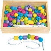 Kit Bijoux SAPIN MALIN Boîte de 125 Grosses Perles en Bois Pastel Samsam