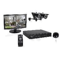Kit Camera De Surveillance - Pack Videosurveillance Kit de surveillance HD DVR728S avec enregistreur 1Tb 8 canaux - 2 cameras bullet HD 720P et 1 ecran 15.4 pouces