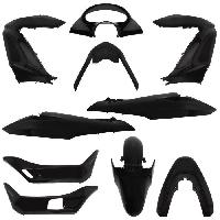 Kit Carrosserie - Bas De Caisse - Aileron - Spoiler - Becquet - Lame - Parechoc - Calandre - Elargisseur D'aile carrosserie-carenage maxiscooter adaptable honda 125 pcx 2009> noir brillant -kit 11 pieces- -p2r-