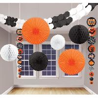 Kit De Decoration - Pack De Decoration Kit Decoration de salle Halloween - 9 pieces - Noir et orange