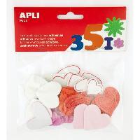 Kit De Dessin APLI Pochette de 52 coeurs mousse - Adhesive a paillettes