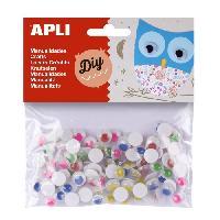 Kit De Dessin APLI Sachet de 100 yeux mobiles - Adhesifs rond