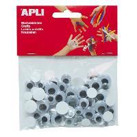 Kit De Dessin APLI Sachet de 100 yeux mobiles - Adhesifs ronds sans cils tailles assorties