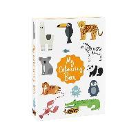 Kit De Dessin BIC My Colouring Box - Kit de Coloriage avec 12Feutres-18Crayons de Couleurs-6 Colles Pailletees. 1Livre de Coloriage et 36Autoc