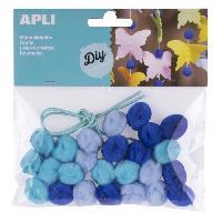 Kit De Dessin Sachet de 25 pompons - Bleu + cordon