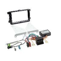Kit Facade et Faisceau ISO Kit facade Adaptateur antenne autoradio CAN-Bus compatible avec VW Seat Skoda Noir brillant