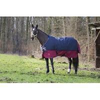 """Kit Vetement - Accessoire EQUI-THEME Couverture TYREX 1200 D """"6'9"""" - 206 cm - Bleu et Rouge Bordeaux"""
