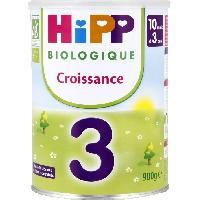 Lait Bebe HIPP BIOLOGIQUE Croissance Lait en poudtre 3eme age - 900 g - Des 12 mois