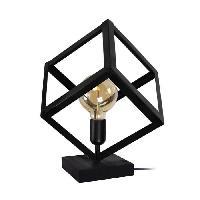 Lampe A Poser KUBE Lampe a poser en metal - 35 x 35 x H35 cm - Noir - E 27 - 1 x 40 W - Generique
