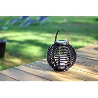 Lampion - Lanterne D'exterieur MUNDUS Lanterne tressee Rota en plastique O22.5 x H20 cm - Noir