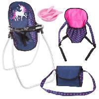 Landau - Poussette Set Accessoires pour poupee licorne bleu et rose vif