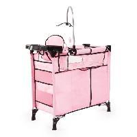Landau - Poussette Set Lit avec Accessoires pour poupee rose avec un biberon. une assiette et couverts