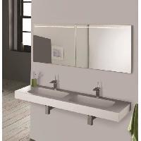 Lavabo - Vasque MITOLA Plan vasque rectangulaire suspendu 2 bacs Ibiza - 140 x 46 cm