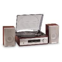 Lecteur Musique BIG BEN TD012SPS - Tourne Disque 2 vitesses 33 et 45 tours - 2 hauts parleurs - Prise casque - 220V - Bois Marron