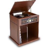 Lecteur Musique BIG BEN TD104 - Tourne disque 2 vitesses 33 et 45 tours - Rangement vinyles intégré - FM stéréo - Entrée USB - 230V - Bois